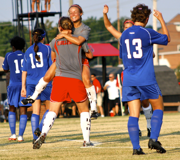 Kelsey+Meyers+celebrates+her+penalty+kick+goal+with+teammate+Lindsay+Williams+Friday+in+the+27th+minute.+The+Lady+Toppers+tied+Memphis+1-1+in+an+exhibition+at+the+WKU+Soccer+Complex.