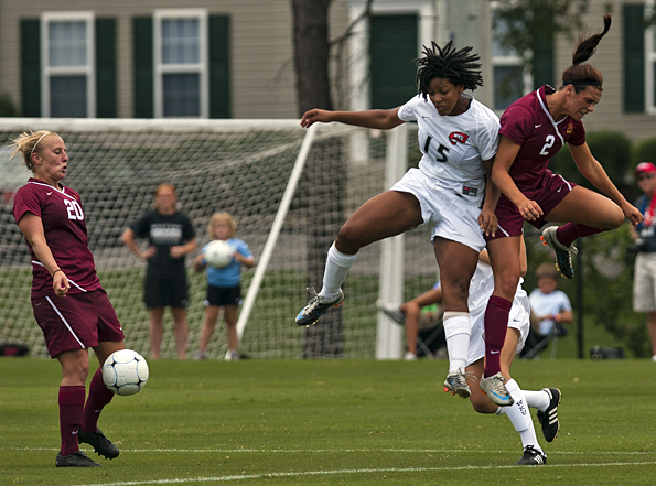 WKU's Chrissy Tchoula battles for possession with Minnesota's Nicole Baier during the first half of Sunday's game at the WKU Soccer Complex. The Lady Toppers dropped their second game of the season in the 2-1 loss.