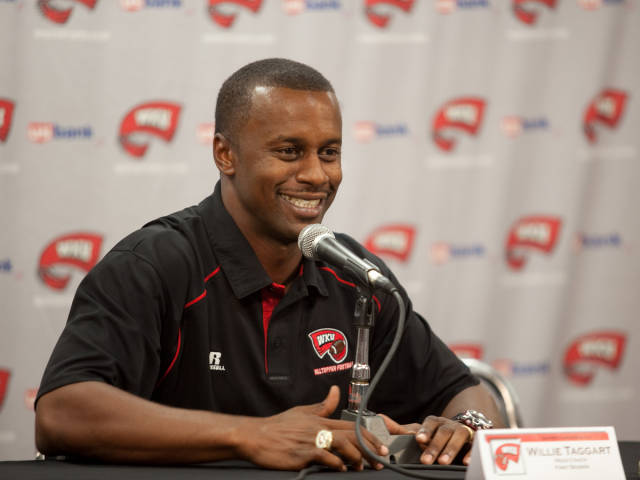Head+Coach+Willie+Taggart+took+to+the+podium+Tuesday+for+Western%27s+2010+football+media+day.+Taggart%2C+a+first-year+coach%2C+makes+his+debut+Sept.+4+at+Nebraska