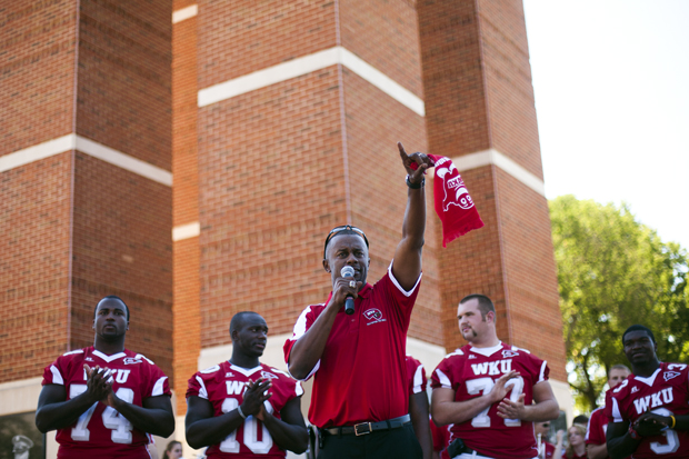 WKU's head football coach Willie Taggart tells assembled students at Guthrie Tower his plans to defeat Indiana University in Saturday's game -- the first home game of the 2010 season.