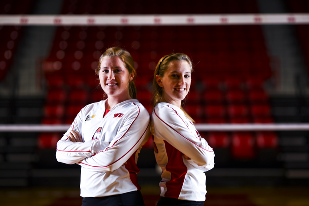 Senior Kelly Potts and sister, freshman Ashley Potts, are both defensive specialists and starters for the WKU volleyball team.