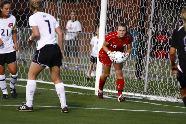 Freshman+goalkeeper+Katlyn+Barnes+stops+a+strike+at+goal+from+Evansville+during+the+second+half+of+their+game+on+Friday+night+at+the+WKU+Soccer+Complex.+Barnes+came+in+for+junior+goalkeeper+Libby+Stout+after+an+injury+with+74+minutes+left+in+the+game.+Barnes+didnt+concede+a+goal%2C+allowing+a+4-0+WKU+win.