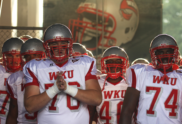 WKU players wait to take the field before last week's game at Kentucky. Head Coach Willie Taggart said the Toppers' week three opponent -- Indiana --