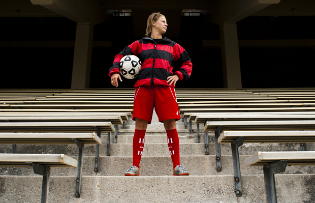 Regina, Saskatchewan, junior forward Mallory Outerbridge stands in Houchens-Smith Stadium after practice on Monday afternoon. Outerbridge leads the Toppers with seven goals and four assists so far this season.
