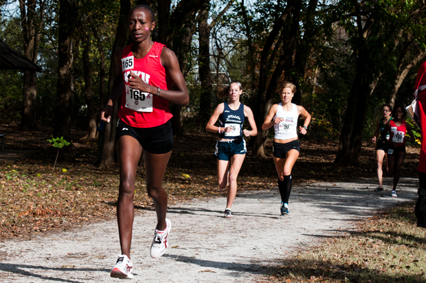 Junior Marion Kandie rounds a turn at Kereiakes Park during the Sun Belt Cross Country Championships Saturday.  Kandie won the 5K with a time of 17:34.2