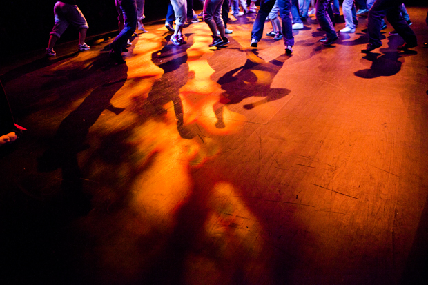 Members of the Sigma Nu and Delta Tau Delta fraternities and Sigma Kappa sorority dance in the third act of Shenanigans, a philanthropy event hosted by the Kappa Delta sorority at Van Meter Hall on Wednesday night. These three Greek organizations were named the winners of the event.