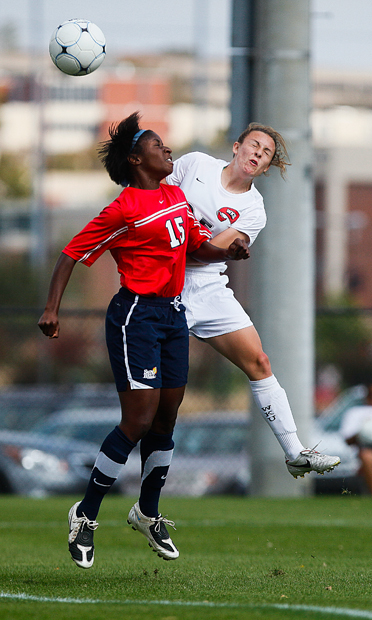 Sophomore midfielder Christen Sims battles South Alabama defender Landi Wilson for the ball during WKU's game on Sunday afternoon against the Jaguars. South Alabama scored two goals in the second half en route to a 2-0 win.