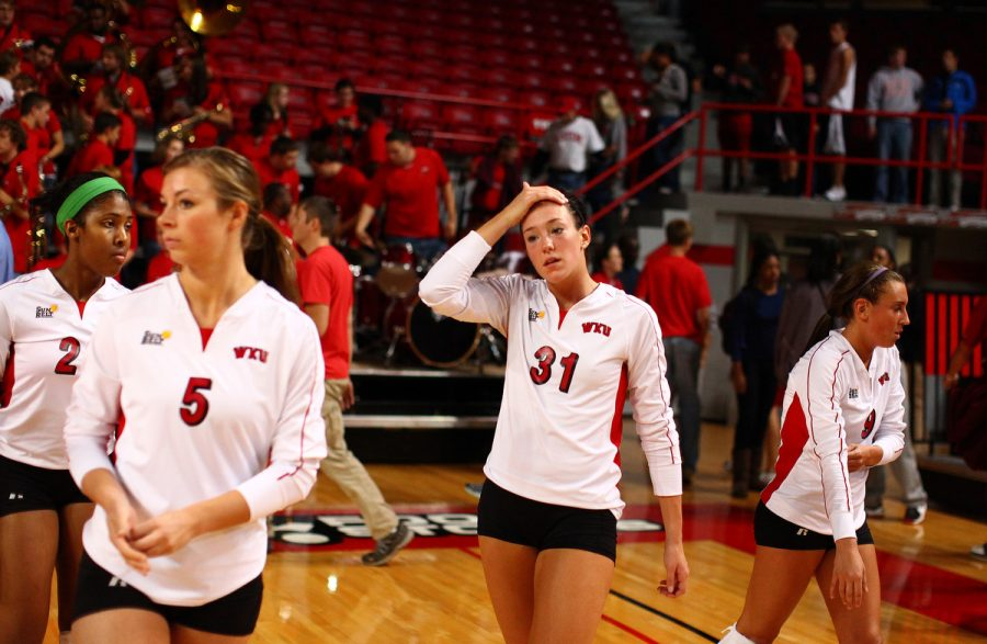 A dejected Emily Teegarden reacts to WKU's 1-3 loss against Cincinnati at home in Diddle Arena, Tuesday, October 19, 2010. The Lady Toppers won the first set but then dropped three straight in their second home defeat of the season.