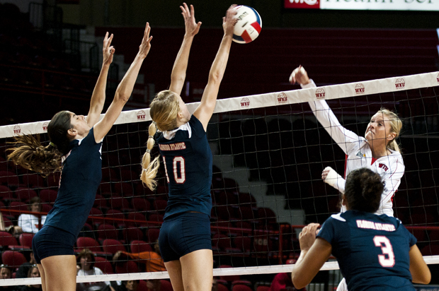 Junior outside hitter Lindsay Williams spikes the ball during Friday's match against Florida Atlantic at Diddle Arena. WKU beat, FAU 3-0.
