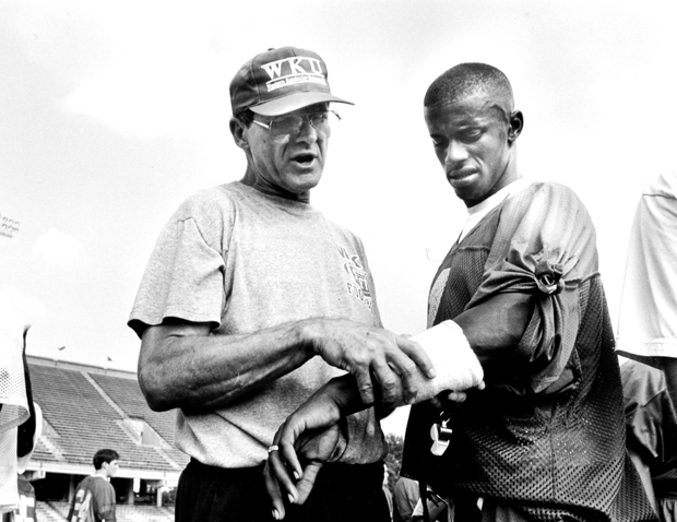 Willie+Taggart+was+recruited+to+WKU+by+Jim+Harbaugh+and+coached+by+Jack+Harbaugh.+He%27s+since+formed+a+close+bond+with+the+Harbaughs.+%22I+think+Coach+Harbaugh+and+his+family+taught+me+how+to+not+only+work%2C+but+to+use+my+work+to+get+me+bigger+and+better+things%2C%22+Taggart+said.