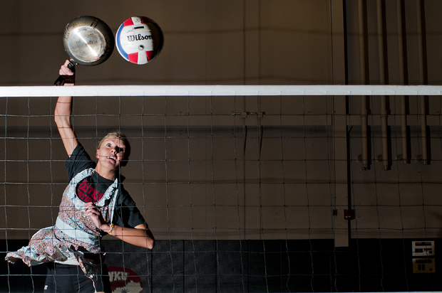 """""""I like creating something people like,"""" said junior Lindsay Williams of St. Charles, Ill., a middle hitter for the Lady Toppers, who frequently makes food for her teammates. """"I like to make something people enjoy to eat."""""""