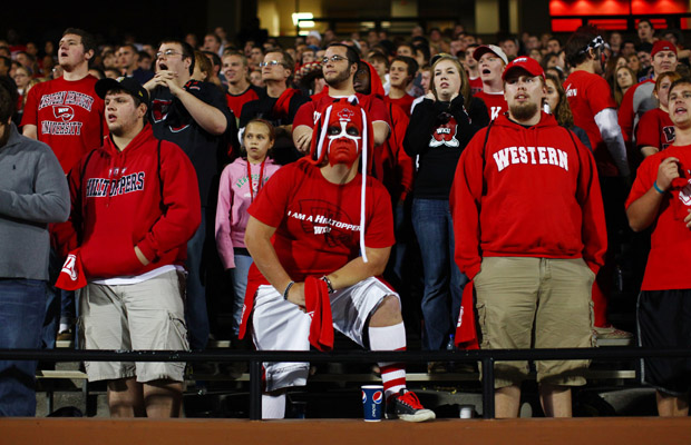 The+WKU+student+section+watches+as+the+Toppers%27+fourth-quarter+meltdown+plays+out+before+them+on+Saturday+in+Houchens-Smith+Stadium.+The+Toppers+led+the+Warhawks+24-7+with+1%3A21+left+in+the+third+quarter%2C+but+ULM+won+35-30.