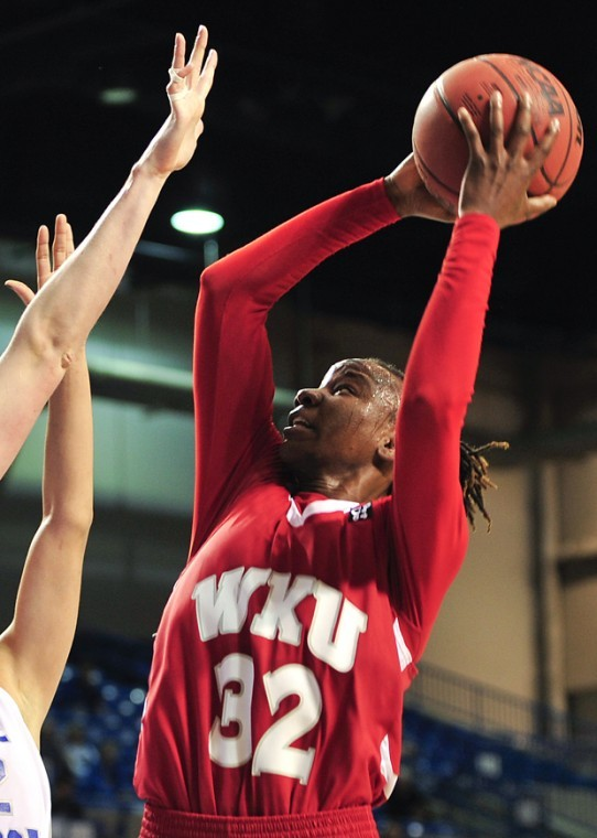 Senior+forward+Arnika+Brown+goes+in+for+a+layup+at+the+Sun+Belt+Conference+Championship+in+Hot+Springs%2C+Ark.%2C+on+March+8.