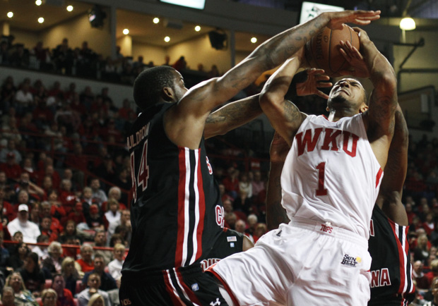Senior+forward+Sergio+Kerusch+gets+blocked+during+the+first+half+of+Sunday%27s+home+game+against+South+Carolina.+WKU+lost+in+double+overtime%2C+87-85.