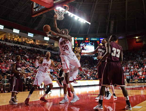 Senior+forward+Steffphon+Pettigrew+goes+up+for+a+basket+against+Alabama+A%26amp%3BM+on+Monday+night%27s+game+in+Diddle+Arena.++WKU+beat+Alabama+A%26amp%3BM+83+to+61.