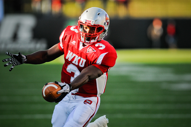Junior+running+back+Bobby+Rainey+is+approaching+his+season-long+goal+of+a+1%2C500+yards+rushing.+Rainey+needs+to+average+128+yards+per+game+in+WKU%27s+last+two+games+to+reach+the+mark.