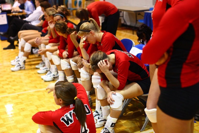 The Lady Toppers mourn their 3-1 loss to Middle Tennessee in the championship round of the 2010 Sun Belt Conference Volleyball Tournament Saturday night, Nov. 20, 2010.