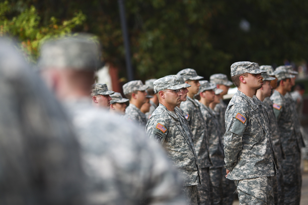 ROTC+Cadets+stand+in+formation+at+the+foot+of+the+Guthrie+Bell+Tower+during+a+memorial+service+for+1st+Lt.+Eric+D.+Yates+on+the+South+Lawn+of+Western+Kentucky+University+on+Thursday%2C+Sept.+24.+LUKE+SHARRETT%2FHERALD