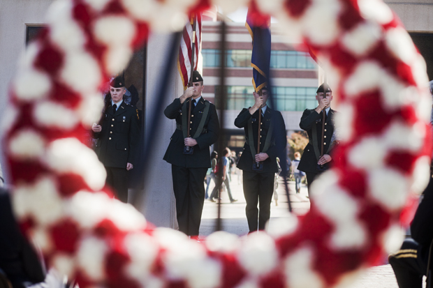 Members+of+the+WKU+ROTC+color+guard+stand+next+to+Guthrie+Bell+Tower+during+a+Veterans+Day+wreath-laying+ceremony+on+Thursday+morning.+Veterans+Day%2C+formerly+known+as+Armistice+Day%2C+marks+the+anniversary+of+the+end+of+World+War+I.+