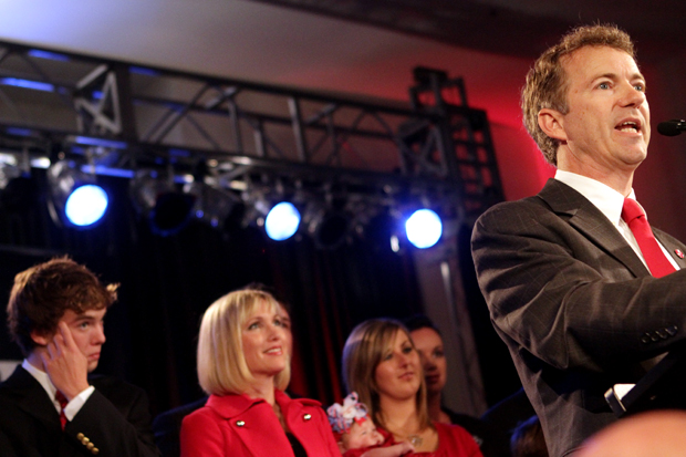 Rand+Paul+declares+his+victory+for+Kentucky%27s+open+U.S.+Senate+seat+during+his+election+party+at+the+Sloan+Convention+Center+in+Bowling+Green.
