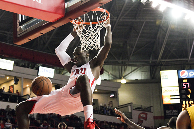 Senior forward Juan Pattillo dunks in the second half to put the Toppers up 59-42 against Xavier (La.). Pattillo scored 31 points and had nine rebounds in an 84-69 WKU win.