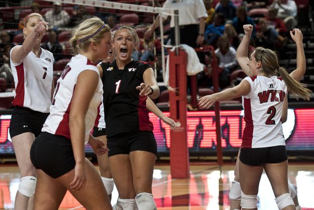 WKU+defensive+specialist+Sarah+Rogers+celebrates+a+spike+during+the+second+game+in+the+Lady+Toppers+3-0+sweep+of+Troy+on+Friday+in+Diddle+Arena.