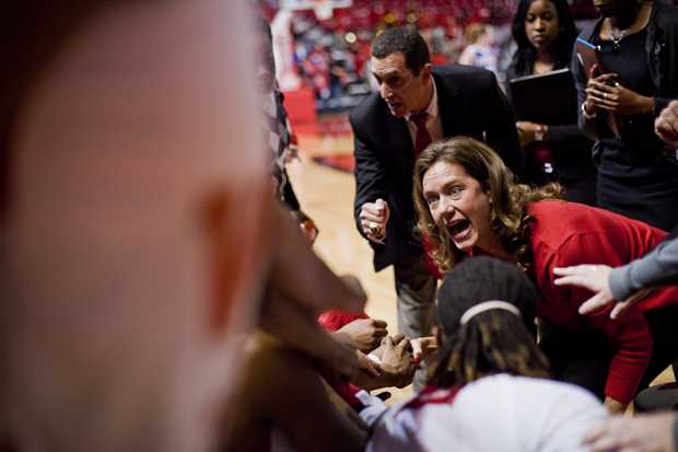 Head coach Mary Taylor Cowles yells during a timeout late in the first half of their game against Northwestern in Diddle Arena.  The Lady Toppers host Florida A&M at 2 p.m. Sunday in the 28th Annual BB&T Classic.