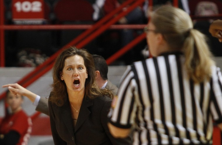 Head Coach Mary Taylor Cowles yells at a referee during the first half of WKU's game against Texas Tech on Wednesday. The Lady Toppers lost 70-60, dropping them to 4-8 on the season.