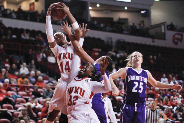Sophomore forward Janae Howard grabs a rebound during WKU's home opener against Northwestern.  Howard, like WKU, has lifted her play lately. The Lady Toppers head to Vanderbilt Tuesday as winners of three of their last four games.
