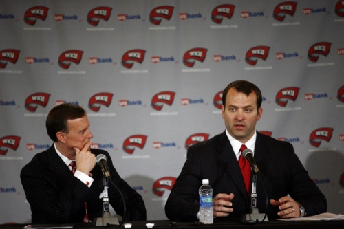 WKU+Athletics+Director+Ross+Bjork+%28right%29+told+the+Herald+Wednesday+that+evaluations+of+the+struggling+basketball+programs+remain+ongoing.+%E2%80%9CYou+take+everything+into+consideration%2C+and+I+don%E2%80%99t+think+anyone+should+ever+hit+a+panic+button%2C%22+Bjork+said.