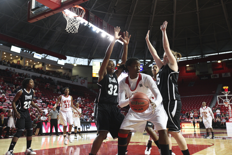 Senior+forward+Arnika+Brown+defends+the+ball+during+WKU%E2%80%99s+Jan.+22+home+game+against+Troy.+The+Lady+Toppers+won+92-76.