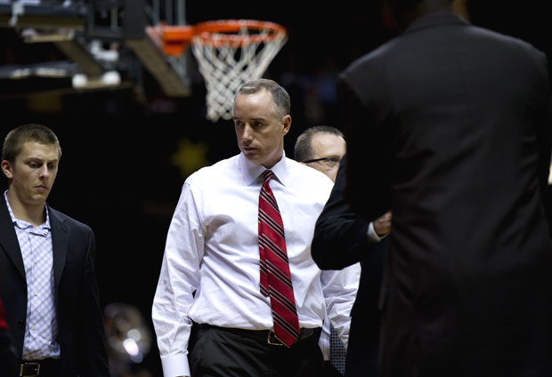 WKU head coach Ken McDonald prepares to speak to his team during a timeout at Vanderbilt earlier this season. McDonald is under pressure from fans as the Toppers sit at 5-8.