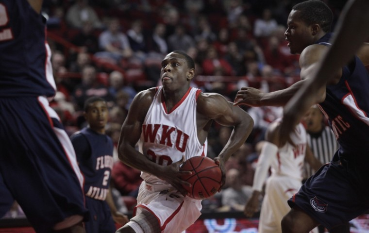 WKU senior forward Steffphon Pettigrew prepares to go for a layup during the first half of Saturday's loss to FAU. Pettigrew scored a career-high 31 points, but the Toppers slid to 0-4 in the Sun Belt for the first time ever.