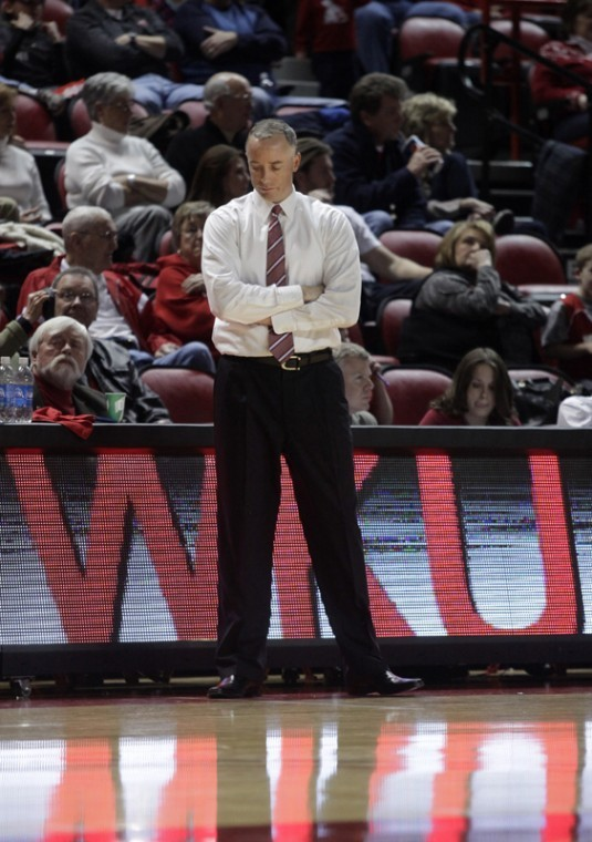 WKU head coach Ken McDonald reacts to a FAU basket during the second half Saturday. The Toppers lost, 78-73, and are without a win since Dec. 11.