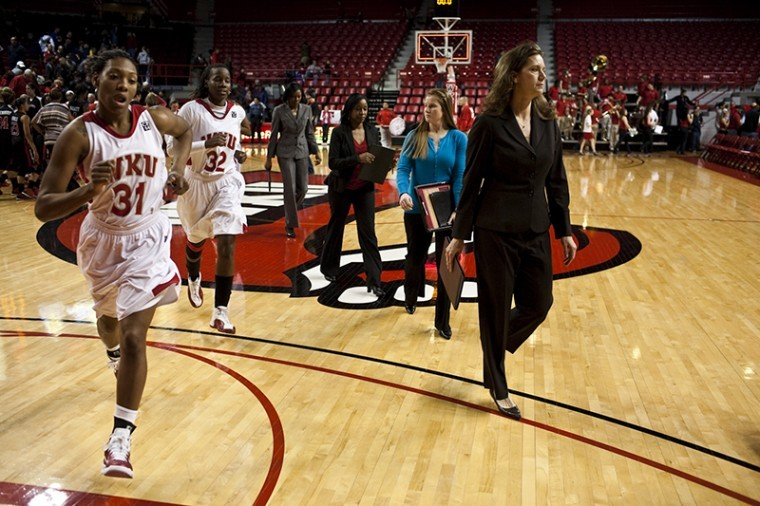 The+Lady+Toppers+and+Head+Coach+Mary+Taylor+Cowles+leave+the+court+after+a+70-60+loss+to+Texas+Tech+on+Wednesday+night+at+Diddle+Arena.+WKU+has+started+4-8+with+the+12th+strongest+schedule+in+the+nation%2C+but+the+Lady+Tops+can+move+to+2-0+in+the+Sun+Belt+at+Arkansas+State+Sunday.