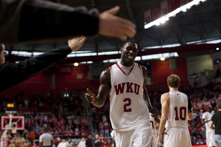 Senior+forward+Juan+Pattillo+slaps+hands+with+fans+at+the+end+of+the+first+half+of+WKU%27s+game+against+North+Texas+on+ESPN2+Saturday+in+Diddle+Arena.+WKU+won+87-76+and+beat+Florida+Gulf+Coast+on+Monday.