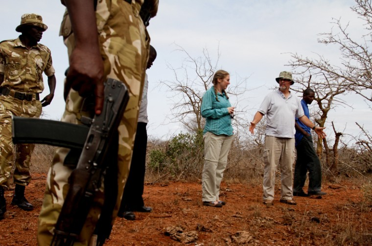 (Left to right) Andrea Falcetto, a graduate student from Emporia, Kan., professor Michael Stokes and University of Nairobi student Robert Mwehe study a