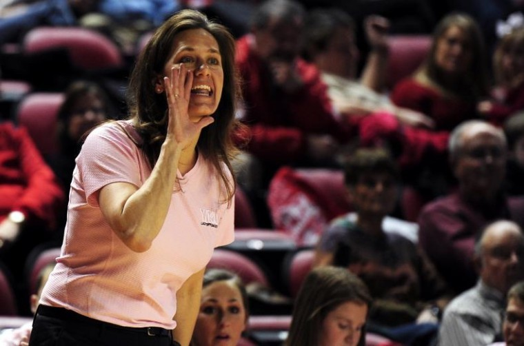 Head Coach Mary Taylor Cowles yells instructions to the Lady Toppers during their game against Louisiana-Monroe on Feb. 5.  WKU travels to Arkansas-Little Rock Wednesday night.