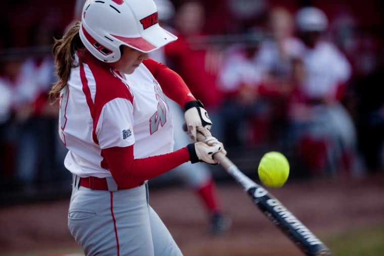 Sophomore+utility+infielder+Ciara+Garcia+makes+contact+during+the+second+game+of+the+Lady+Toppers%27+doubleheader+against+Eastern+Kentucky+on+Wednesday+afternoon.+The+Toppers+lost+both+games.+