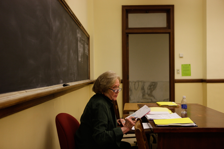 """Marry Ellen Miller waits for students to arrive in her Advanced Poetry Writing class in Cherry Hall Tuesday morning.  Miller has been teaching at WKU for almost 48 years, making her the longest-serving employee at WKU. """"My students are my inspiration,"""" Miller said."""