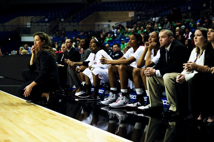 WKU%27s+game+against+North+texas+was+close+for+the+entire+first+half.+Head+Coach+Mary+Taylor+Cowles+bites+her+lip+as+WKU+plays+defense.+The+Lady+Toppers+eventually+won%2C+81-66.
