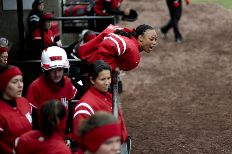 Freshman+outfielder+Tiffany+Gooch+cheers+on+a+teammate+during+the+Lady+Toppers%E2%80%99+Sunday+afternoon+doubleheader+against+Florida+Atlantic.+WKU+lost+the+first+game+of+the+day+but+rallied+to+win+the+second+game%2C+6-3.