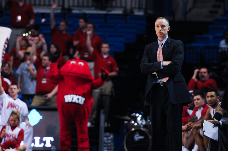 Head Coach Ken McDonald watches as WKU plays against North Texas in the Sun Belt tournament semifinals. McDonald was announced as WKU's head coach moving forward on Monday.