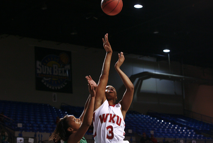 Senior guard Amy McNear scored 25 points on Saturday, a season high. McNear helped push the Lady Toppers to an 81-66 win over North Texas in the first round of the Sun Belt tournament in Hot Springs, Ark.
