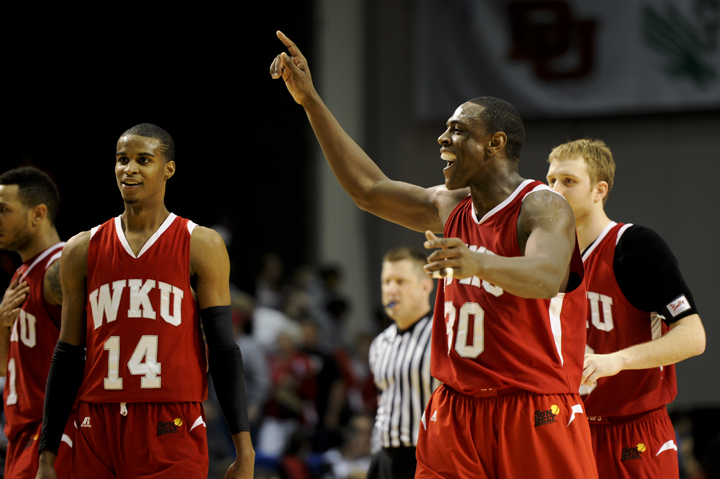 Steffphon Pettigrew celebrates near the end of Sundays quarterfinal game. After being down for the majority of the game, WKU came back and beat Louisiana-Lafayette, 81-76.