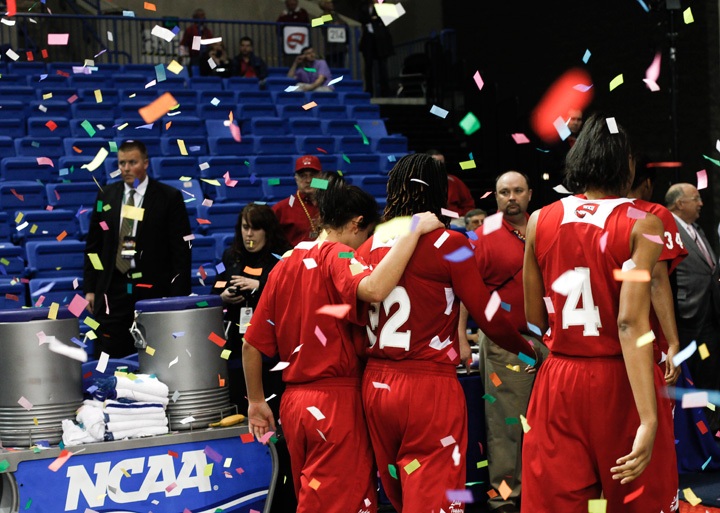 The Lady Toppers walk off the court after losing to Arkansas-Little Rock in the championship game of the Sun Belt tournament. The Toppers ended their season with a 15-17 record.
