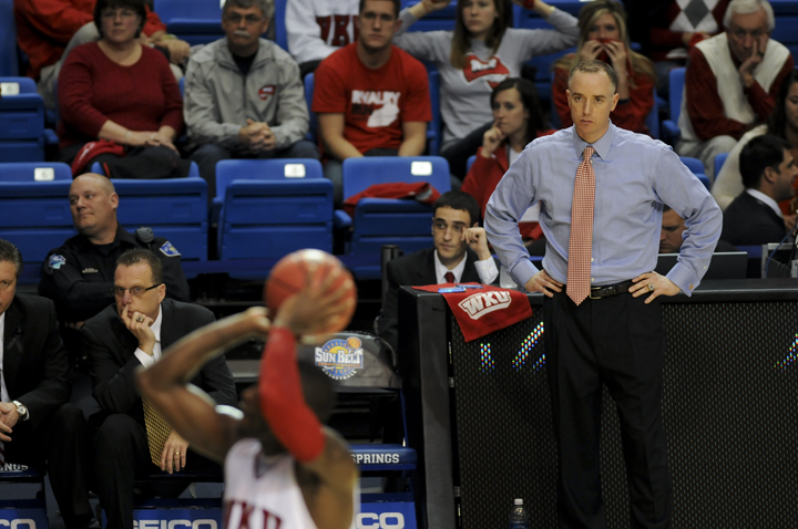 Head+Coach+Ken+McDonald+watches+as+WKU+takes+some+of+their+last+free+throws+of+the+game.+WKU+was+eliminated+from+the+Sun+Belt+tournament+with+an+81-62+loss+to+North+Texas+on+Monday.