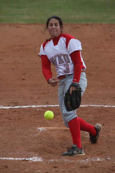 Sophomore pitcher Kim Wagner works on the mound in WKUs win over UNC-Greensboro on Friday. Wagner recorded two wins at the Buzz Classic this weekend, helping the Lady Toppers finish 3-0 and win their eighth straight game.
