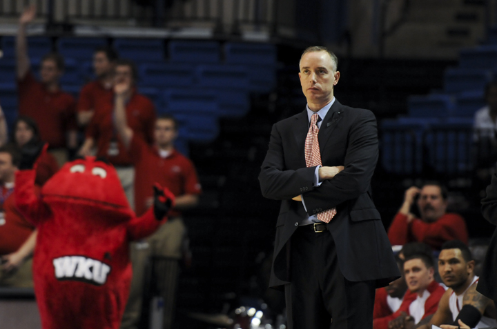 WKU+Head+Coach+Ken+McDonald+watches+as+WKU+plays+against+North+Texas.+WKU+lost+the+game%2C+81-62%2C+but+McDonald+said+after+the+game+that+he+was+proud+of+the+way+the+Toppers+turned+around+their+2010-11+season.