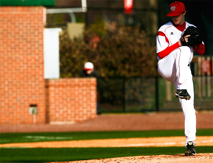 Sophomore pitcher Tanner Perkins pitches against the Illinois during Friday's home game. Perkins pitched a complete game in WKU's 3-1 win.